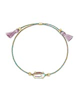 Everlyne Multicolor Cord Friendship Bracelet in Dichroic Glass