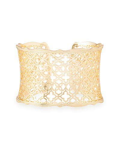 Candice Gold Cuff Bracelet in Gold Filigree