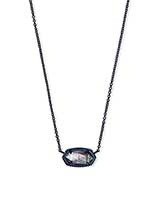Elisa Navy Gunmetal Pendant Necklace in Indigo Illusion