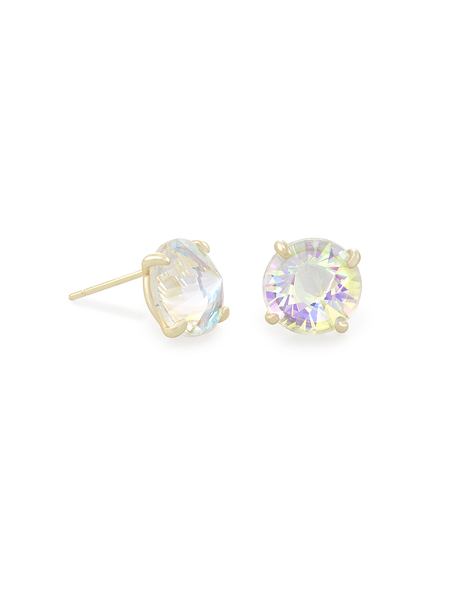 Jolie Gold Stud Earrings in Dichroic Glass