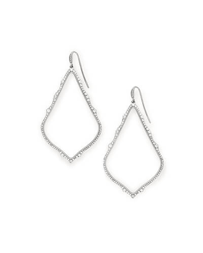 Sophee 14k White Gold Drop Earrings in White Diamond
