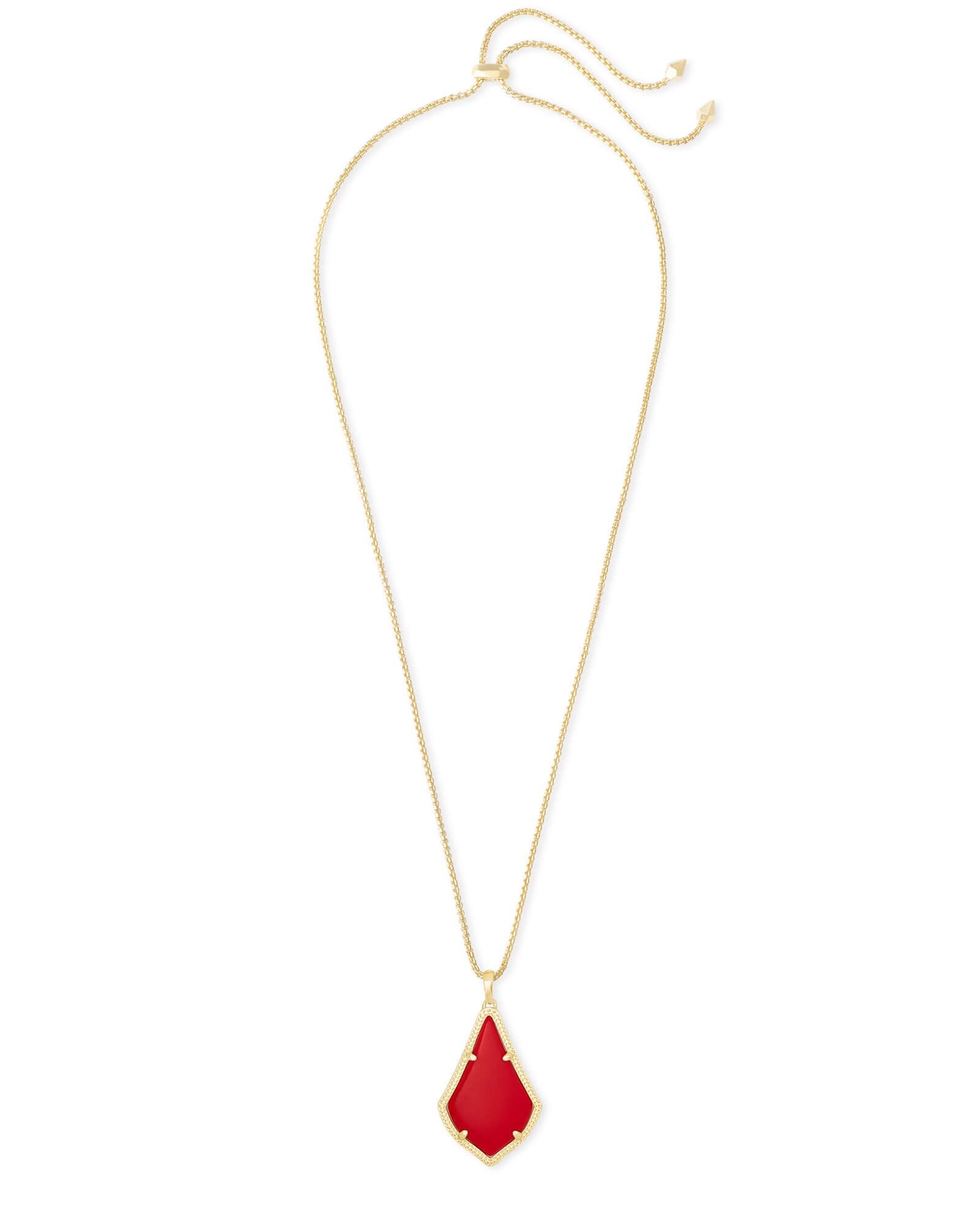 Alex Gold Pendant Necklace in Bright Red Opaque Glass