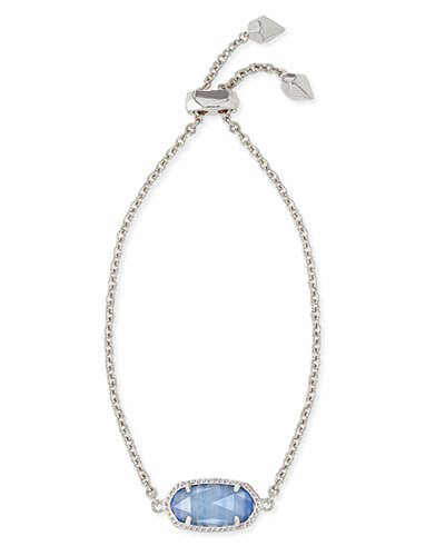 Elaina Silver Adjustable Chain Bracelet in Periwinkle Cat's Eye