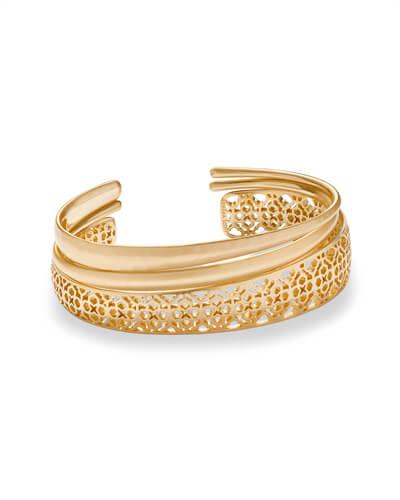 Tiana Gold Pinch Bracelet Set in Gold Filigree