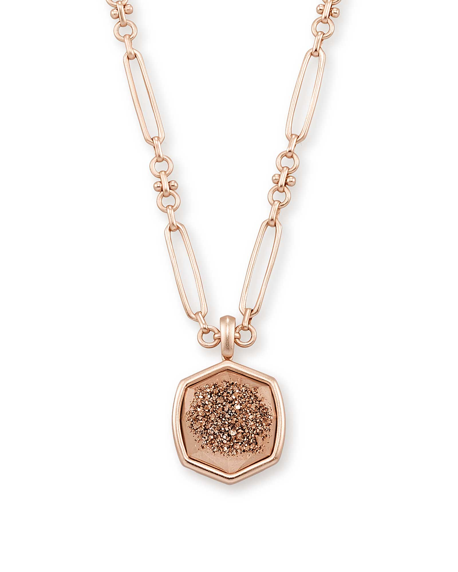 Davis Rose Gold Pendant Necklace in Rose Gold Drusy