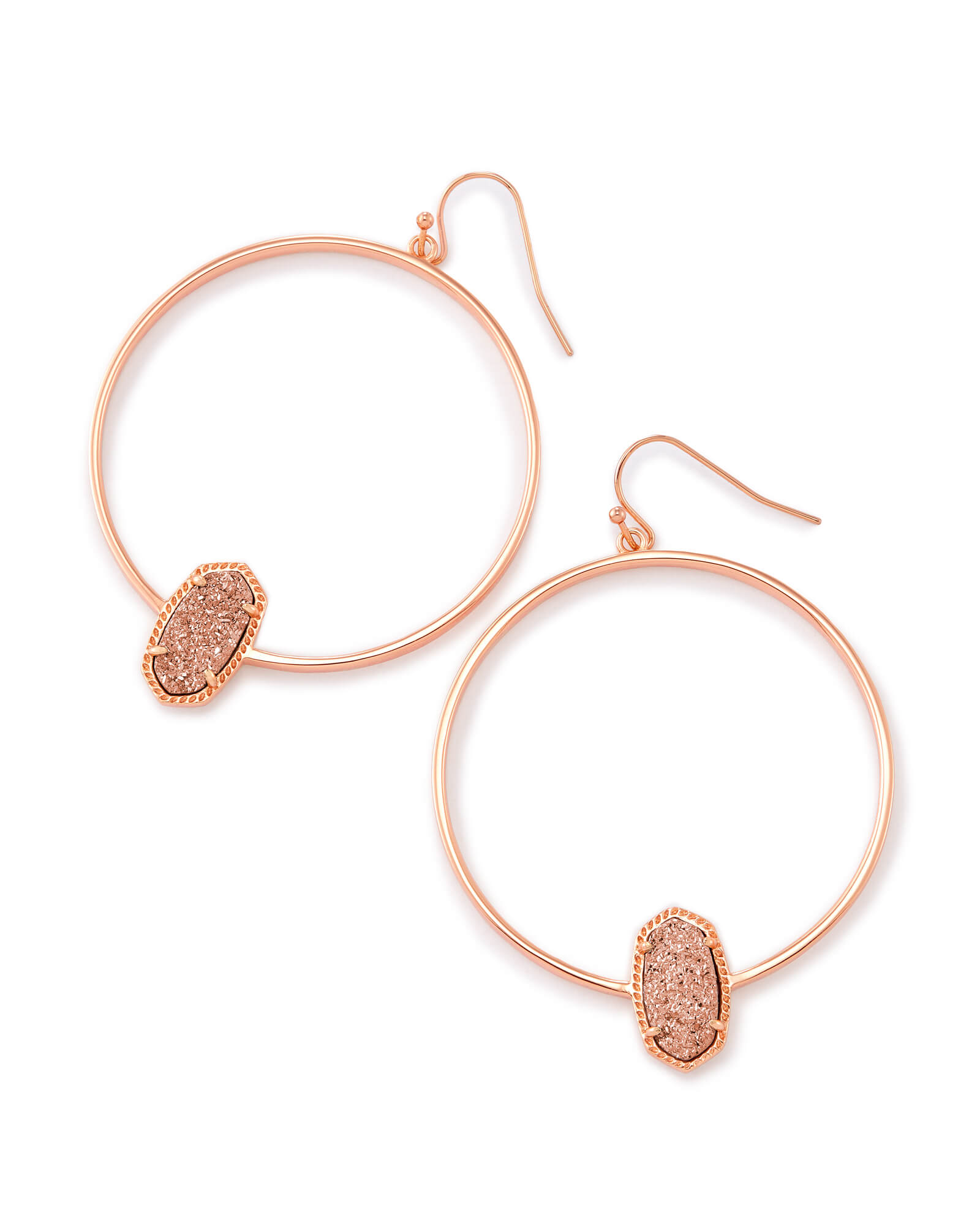 Elora Rose Gold Hoop Earrings In Rose Gold Drusy