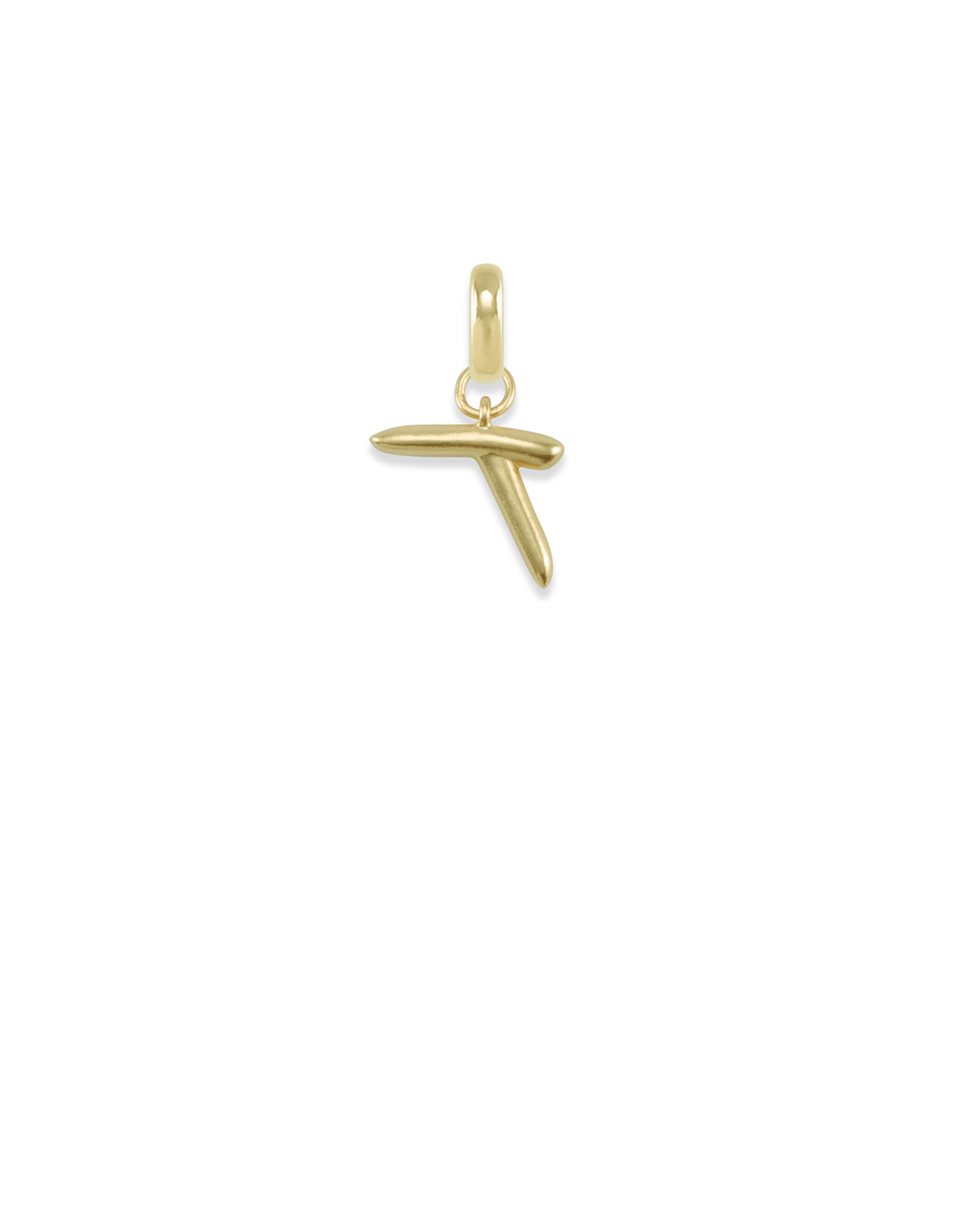 Letter T Charm in Gold