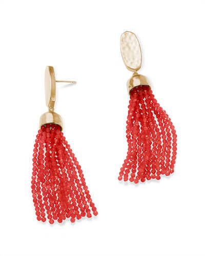 Marin Gold Statement Earrings in Red Pearl