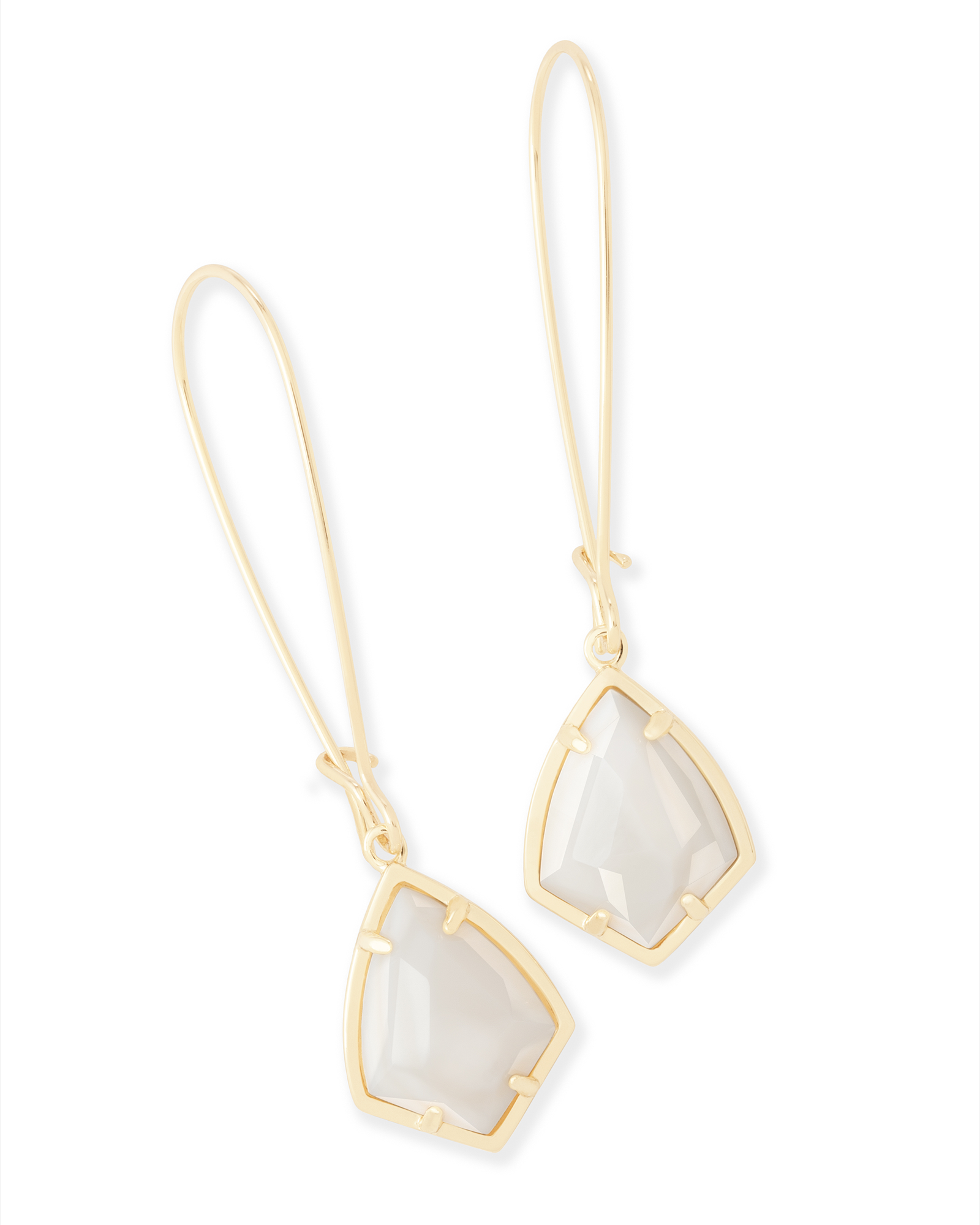 Carinne Gold Drop Earrings in White Pearl