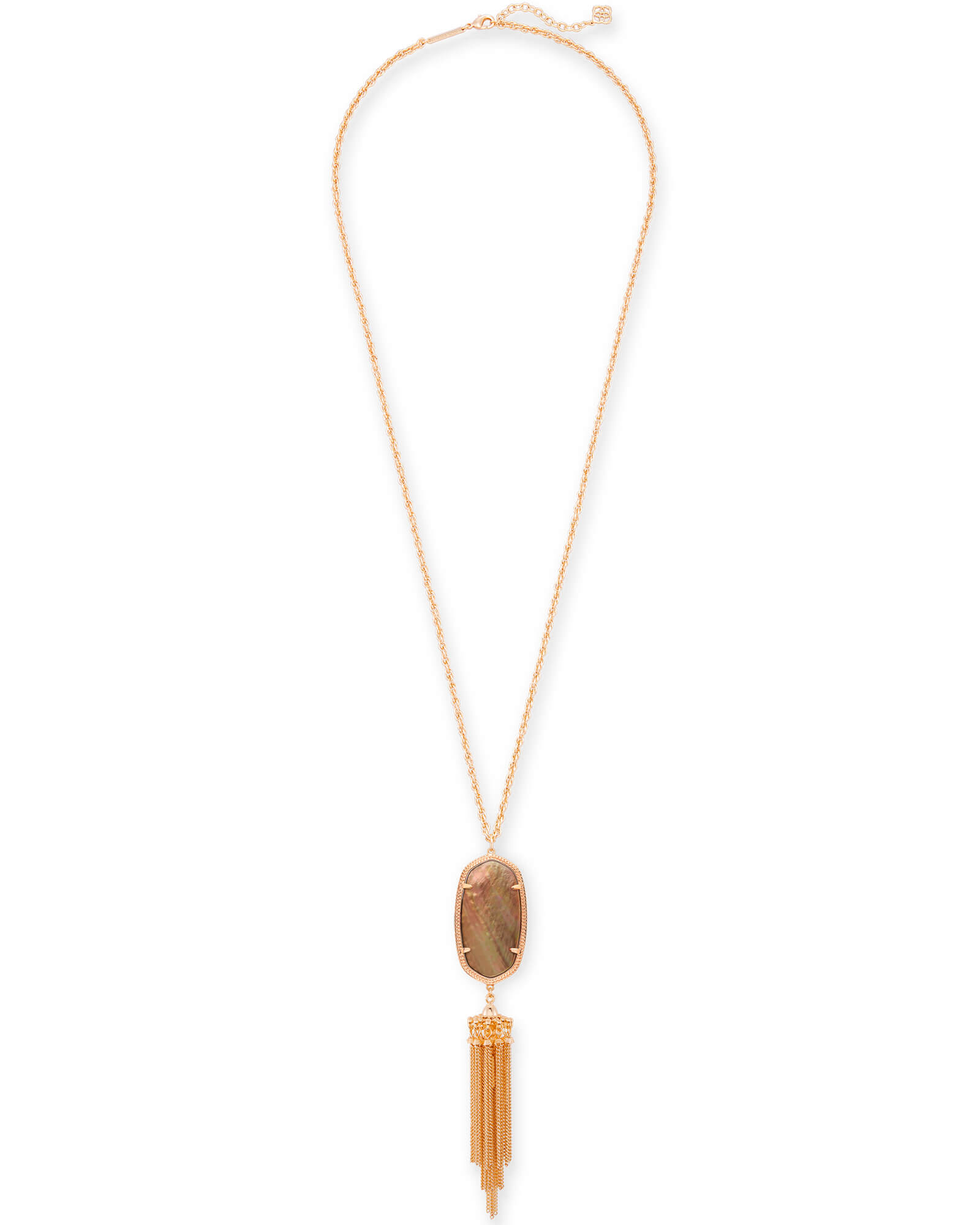 Rayne Long Pendant Necklace in Rose Gold