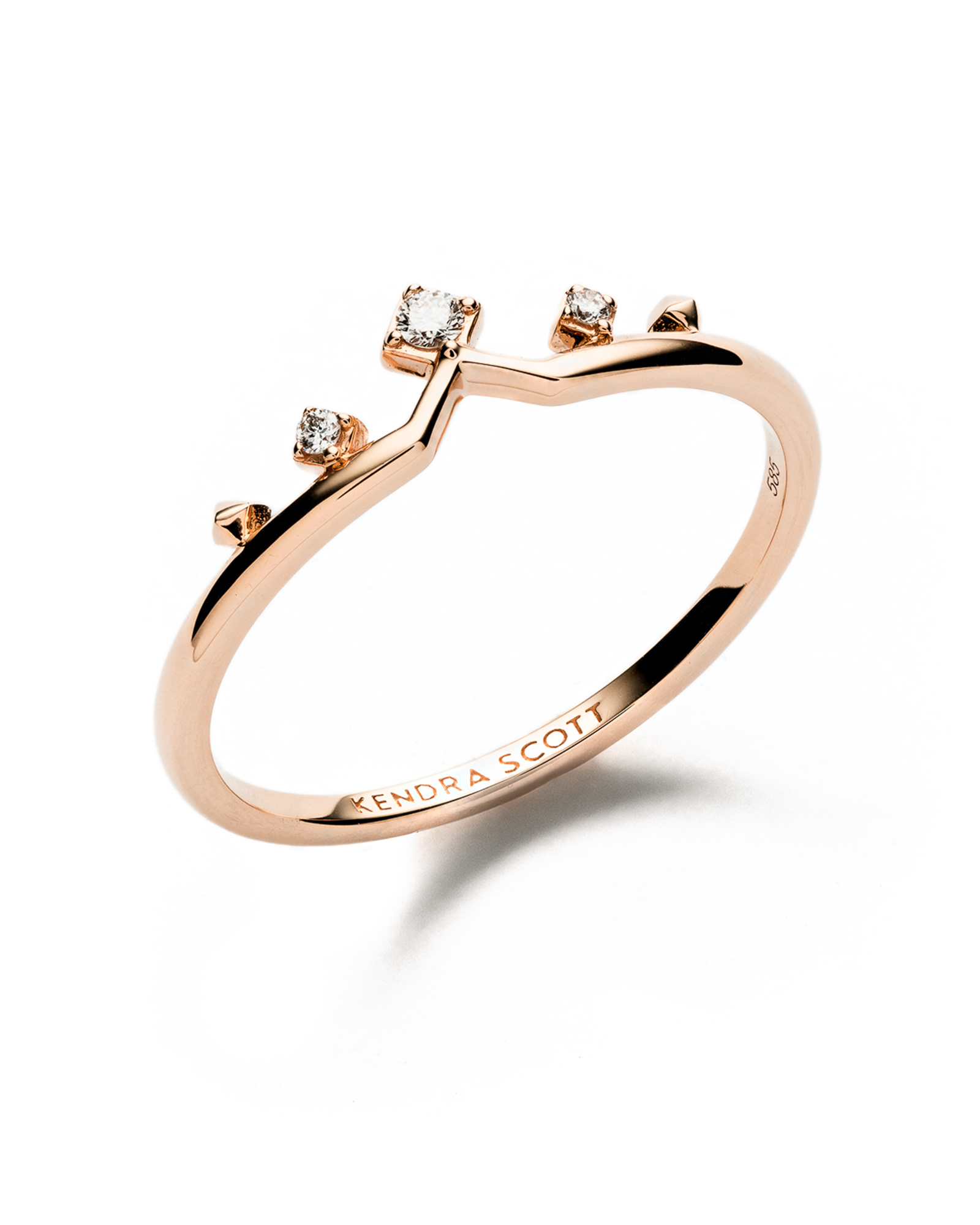 Michelle 14k Rose Gold Band Ring in White Diamond - 7