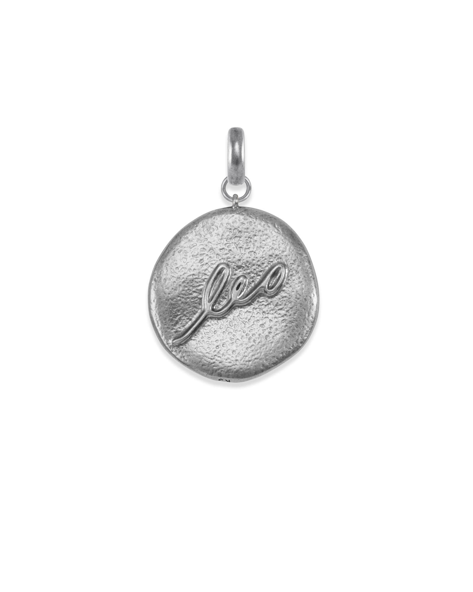 Leo Coin Charm in Vintage Silver