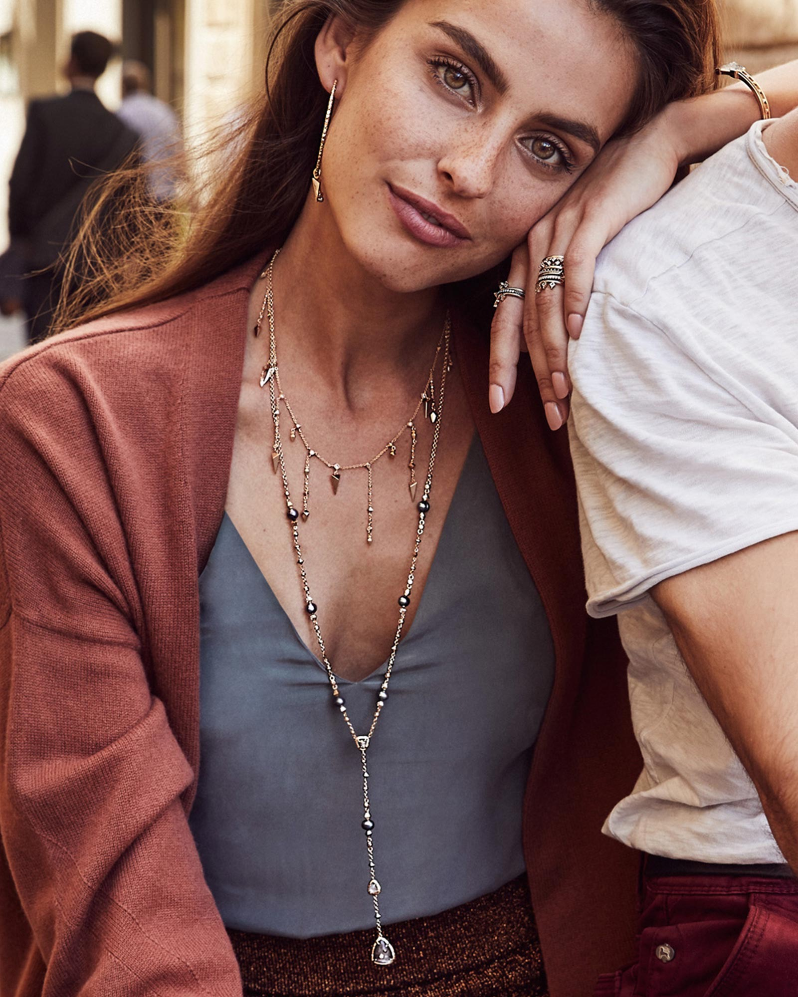 Loralei Long Necklace in Rose Gold