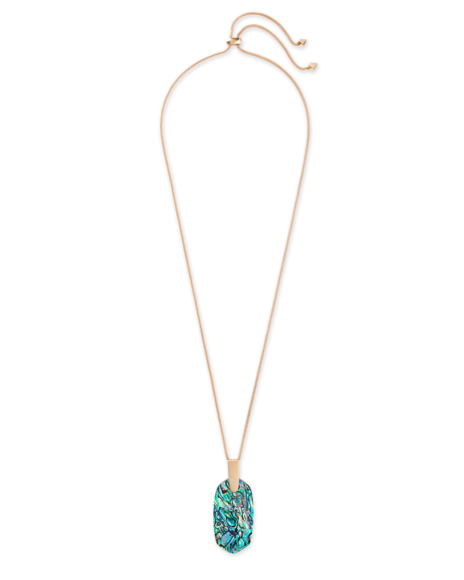 Inez Rose Gold Long Pendant Necklace in Abalone Shell