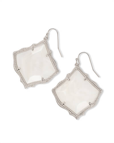 Kirsten Silver Drop Earrings in White Pearl