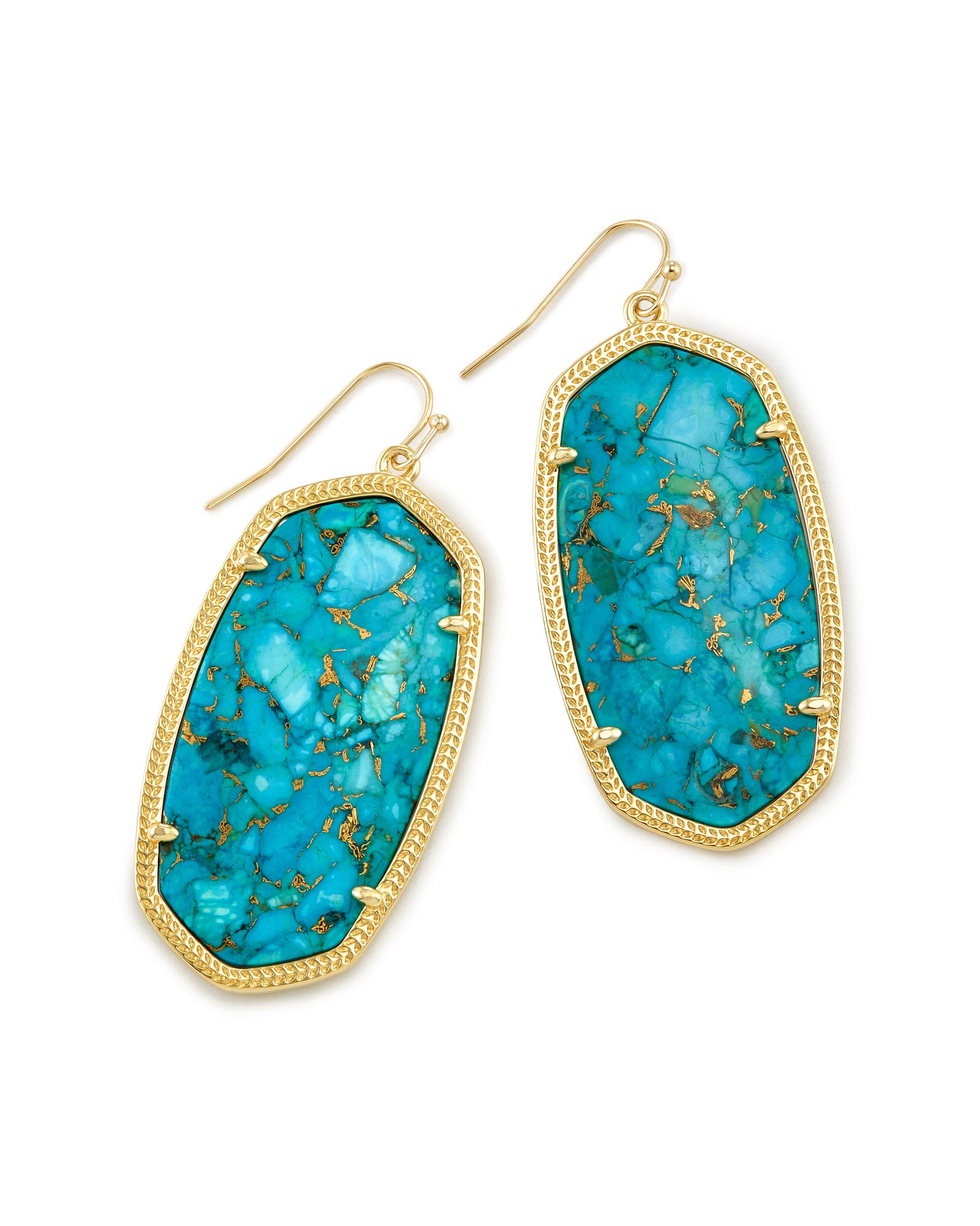 Danielle Statement Earrings in Bronze Veined Turquoise