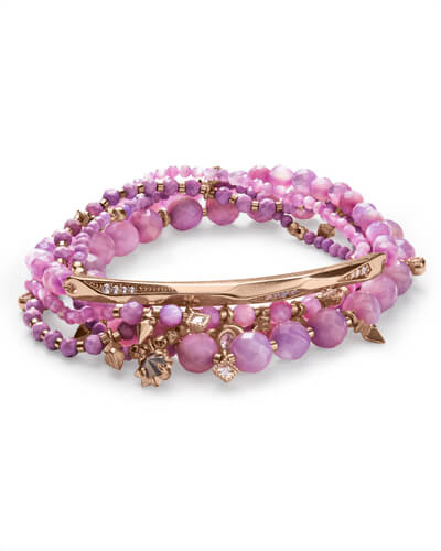 Supak Rose Gold Beaded Bracelet Set In Lilac Mother of Pearl Mix