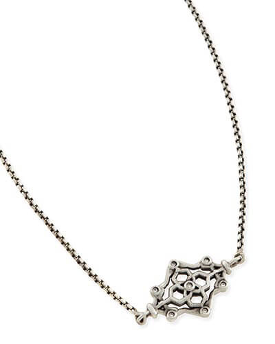 Riley Pendant Necklace in Antique Silver