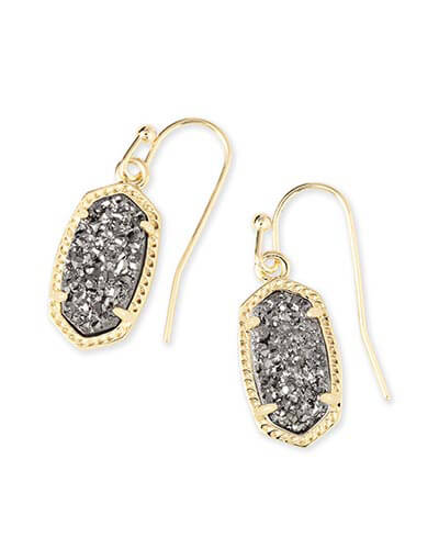 Lee Gold Earrings in Platinum Drusy