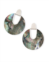 Diane Silver Statement Earrings in Black Mother of Pearl
