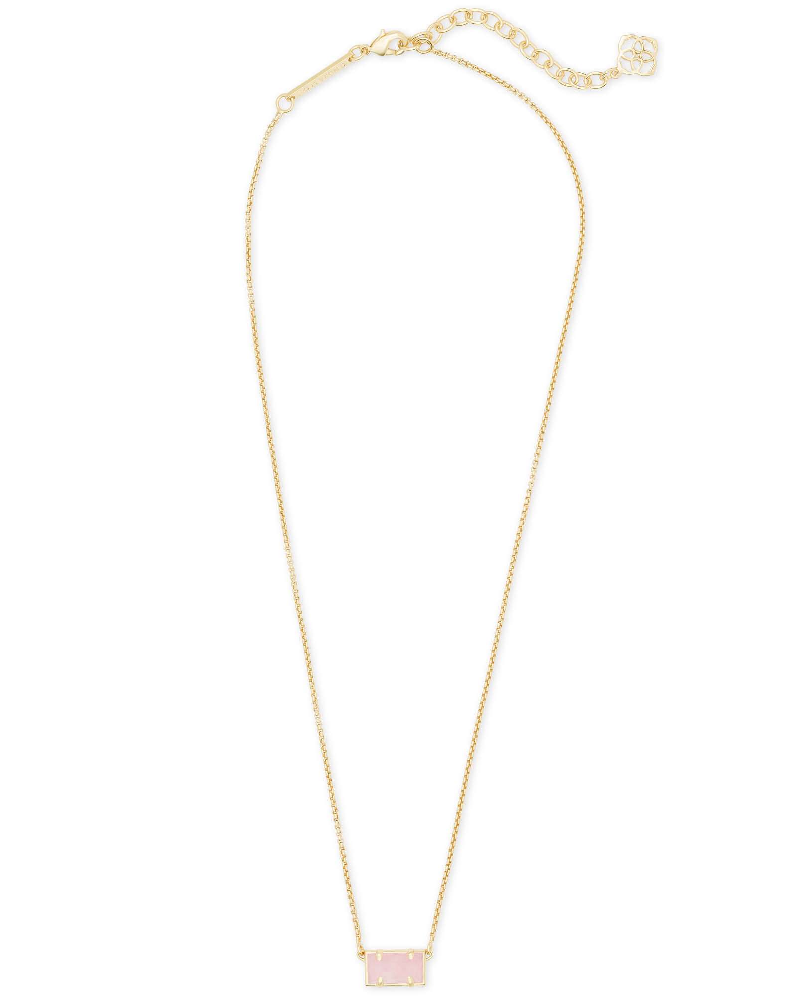 Pattie Gold Pendant Necklace In Rose Quartz