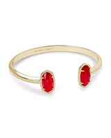Elton Gold Cuff Bracelet in Cherry Red Illusion