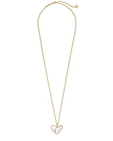 Poppy Heart Gold Long Pendant Necklace in Ivory Mother-of-Pearl