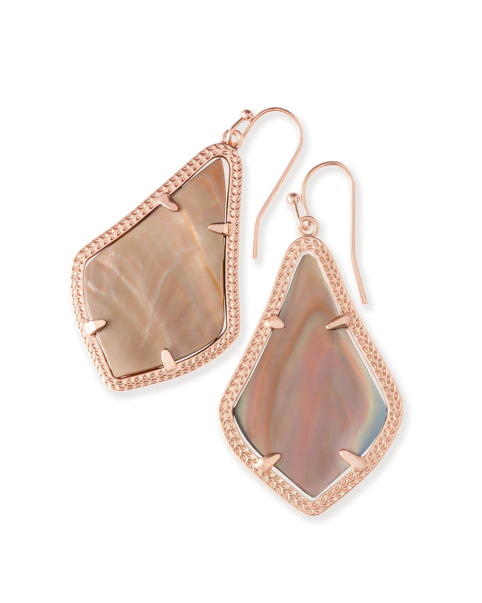 Alex Drop Earrings In Brown Pearl