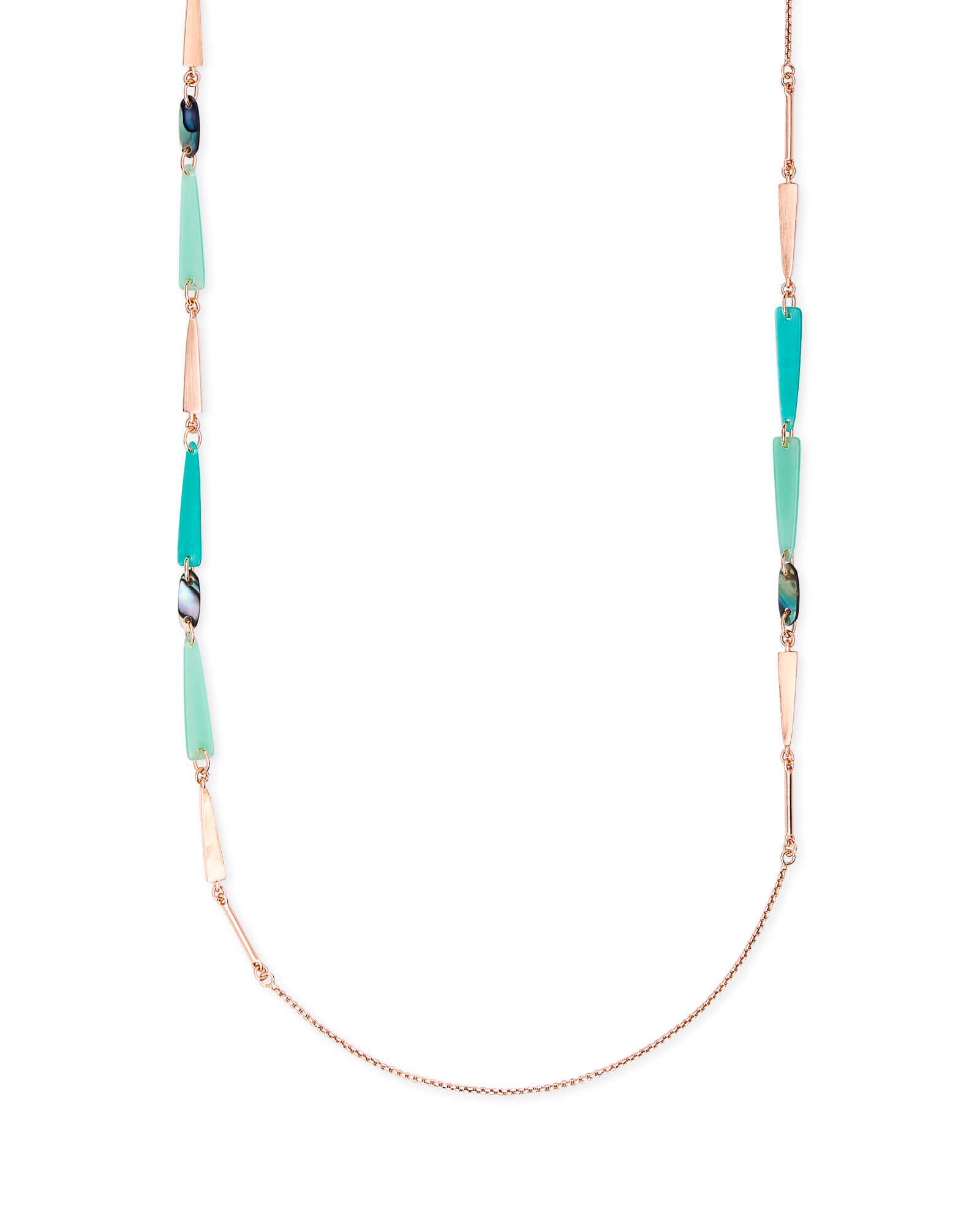 Aylin Rose Gold Long Necklace in Abalone Mix