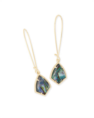 Carinne Gold Drop Earrings in Abalone Shell