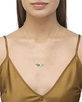 Ivy Gold Pendant Necklace in Sea Green Mix