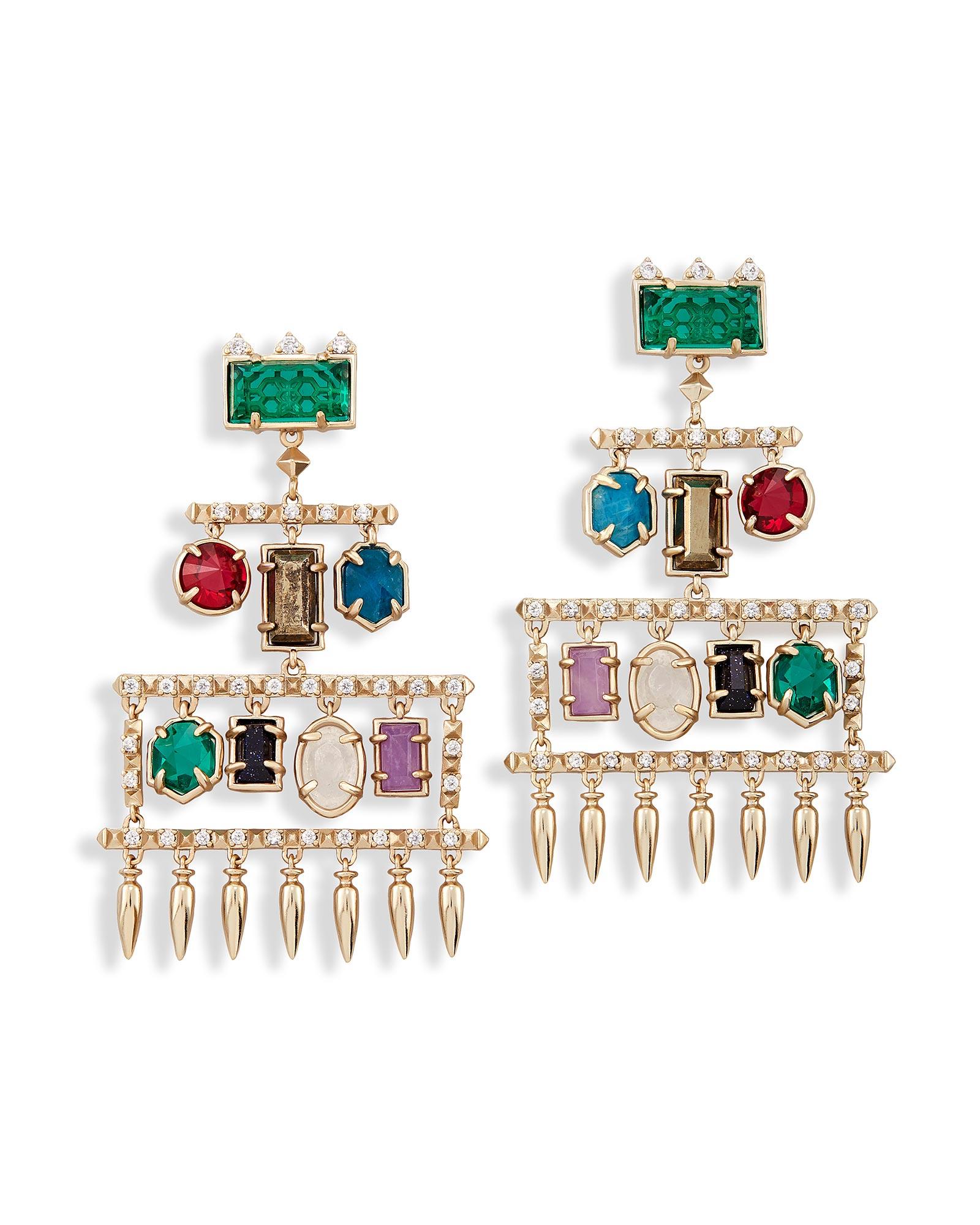 Emmylou Statement Earrings In Brass