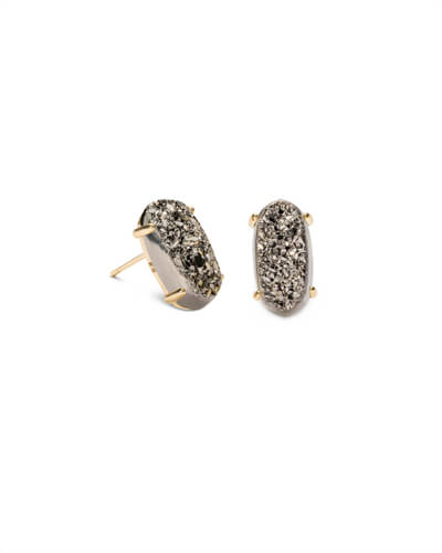 Betty Gold Stud Earrings in Platinum Drusy