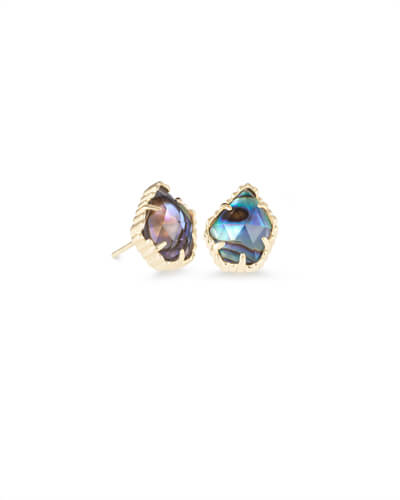 Tessa Gold Stud Earrings in Abalone Shell