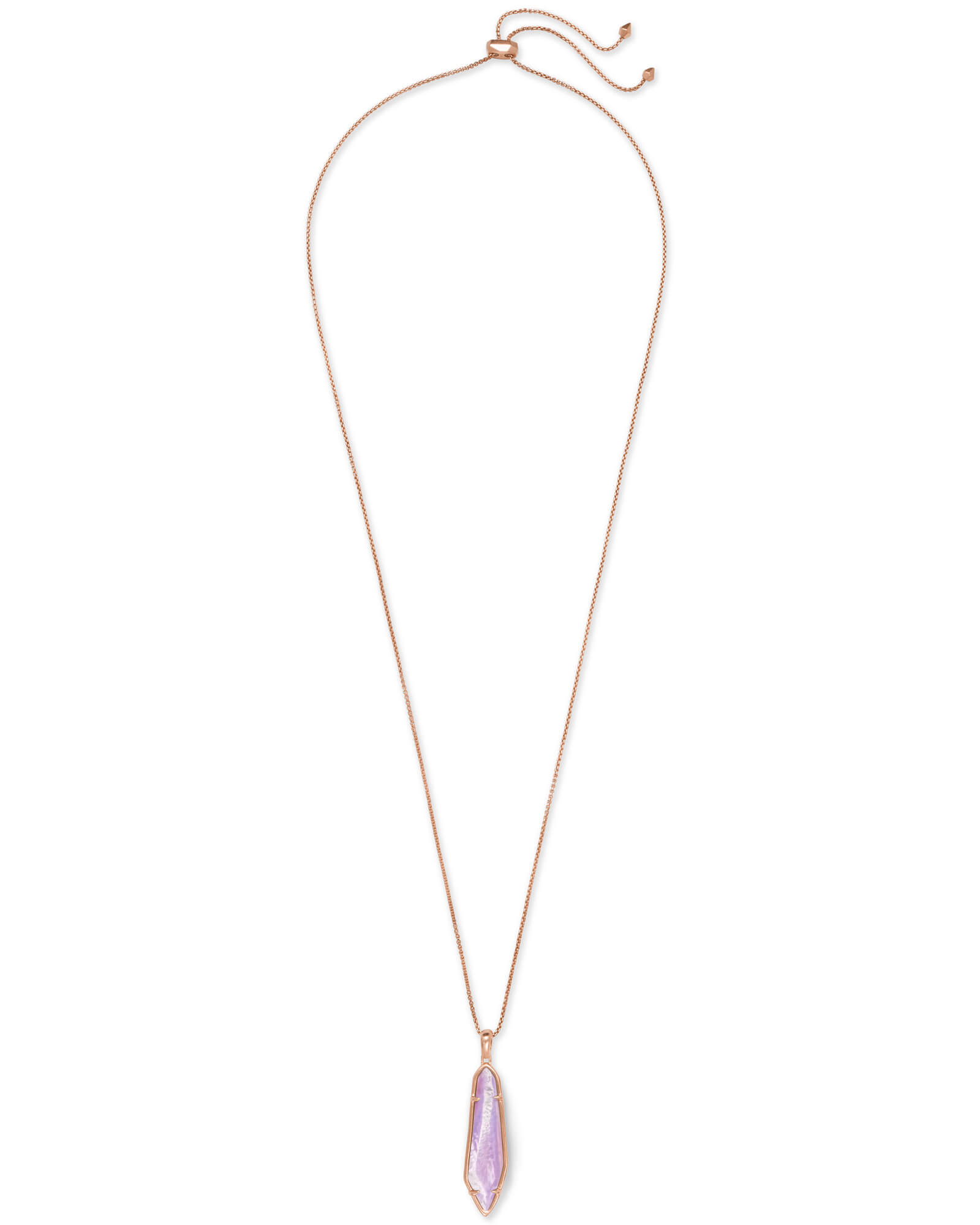Cassidy Rose Gold Pendant Necklace In Lilac Mother of Pearl