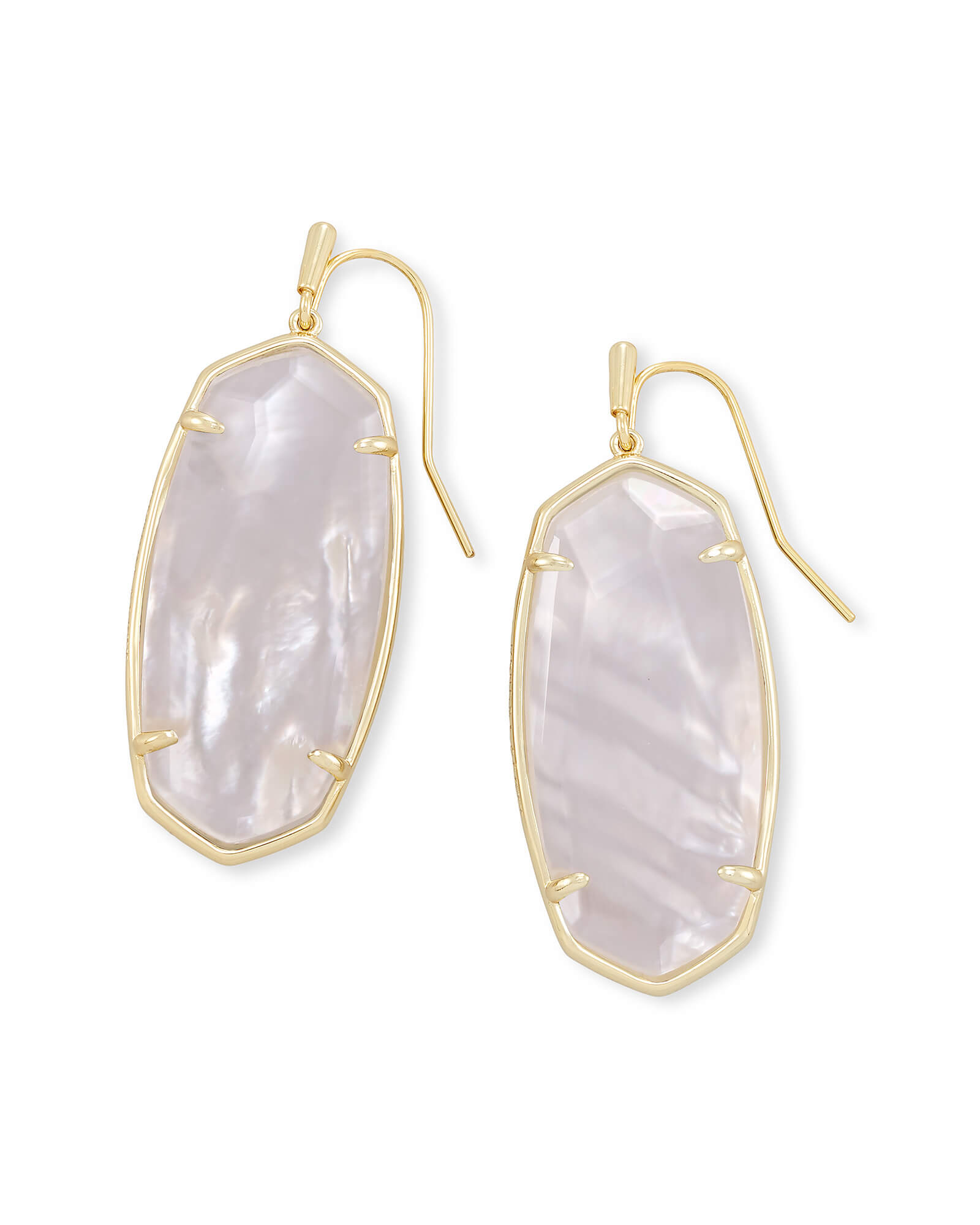 Faceted Elle Gold Drop Earrings in Ivory Mother-of-Pearl