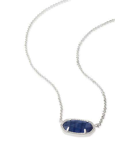 Elisa Silver Pendant Necklace in Navy Cat's Eye