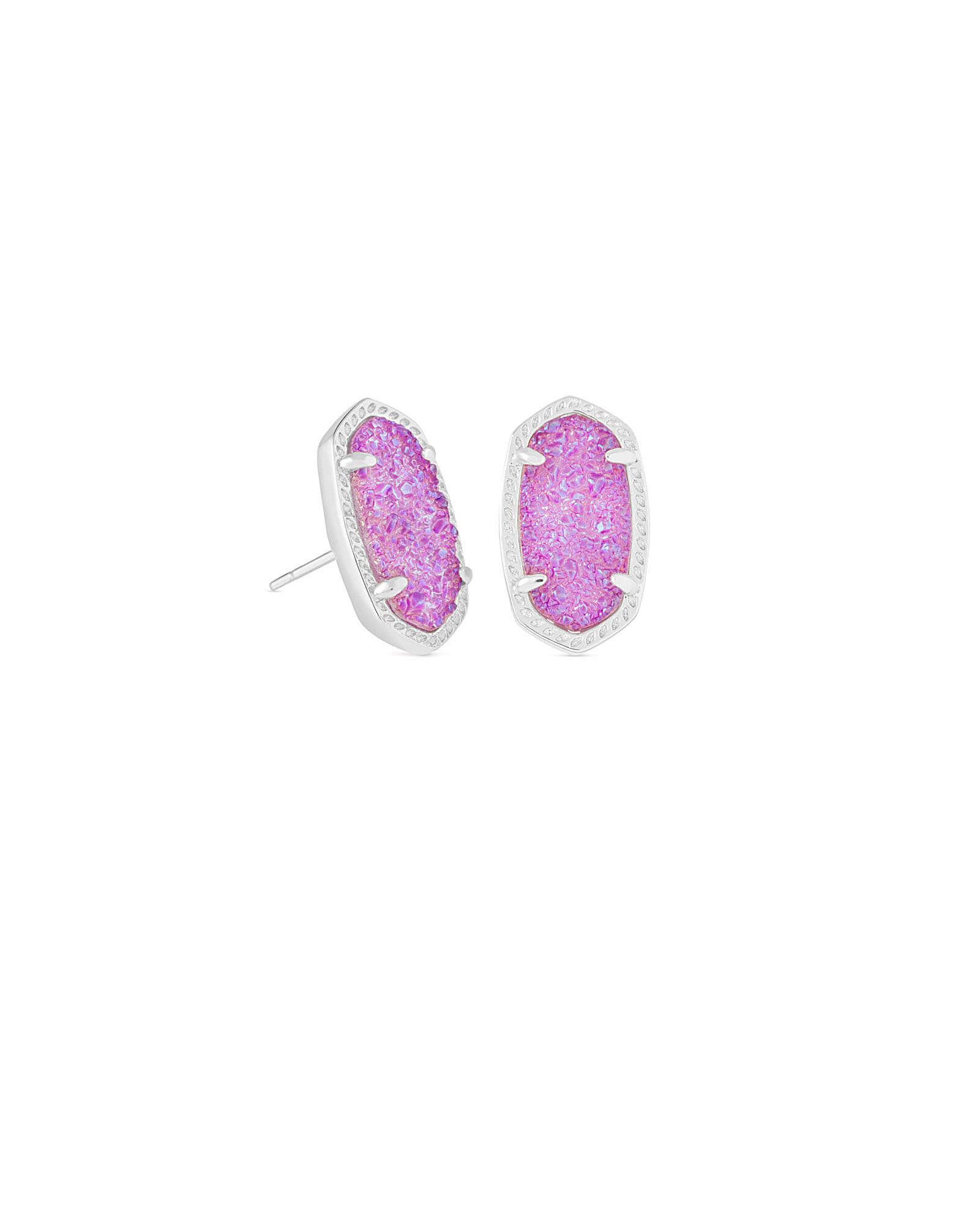 Ellie Silver Stud Earrings in Violet Drusy