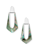 Kiernan Bright Silver Statement Earrings in Black Pearl
