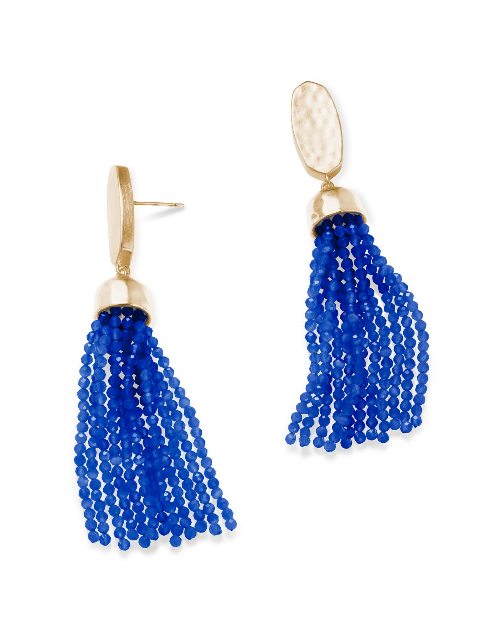 Marin Gold Statement Earrings in Cobalt Cats Eye