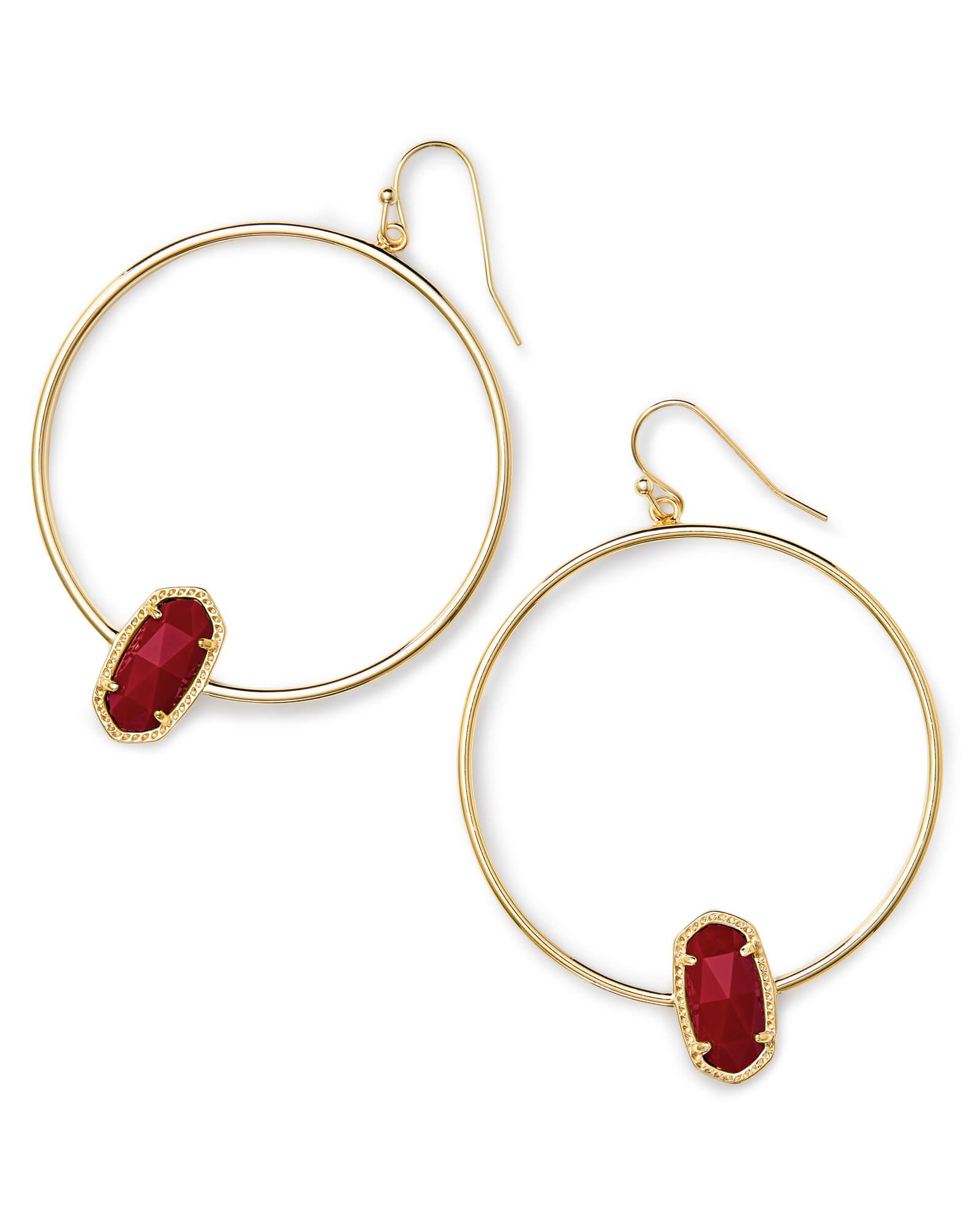 Elora Gold Hoop Earring In Dark Red