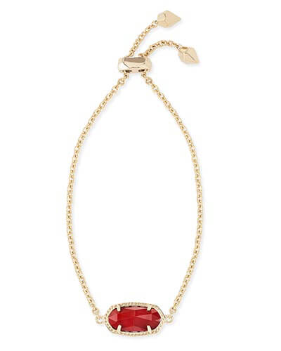 Elaina Adjustable Chain Bracelet in Dark Red