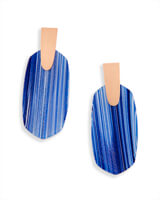 Aragon Statement Earrings in Navy Dusted Glass