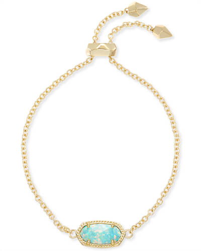 Elaina Adjustable Chain Bracelet in Aqua Kyocera Opal