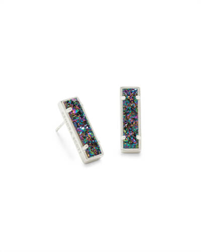 Lady Silver Stud Earrings in Multicolor Drusy