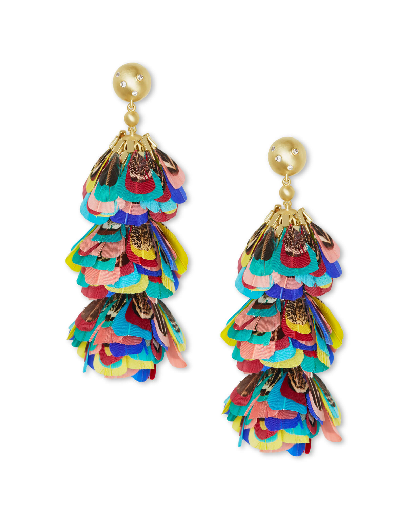 Lenni Gold Statement Earrings in Multi Color Feathers