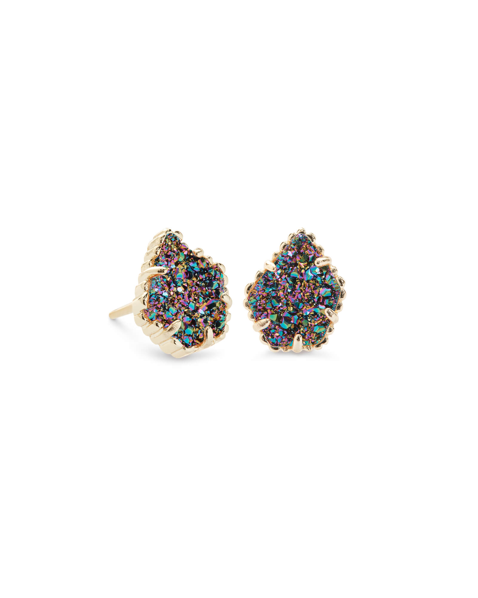 Tessa Gold Stud Earrings in Multicolor Drusy