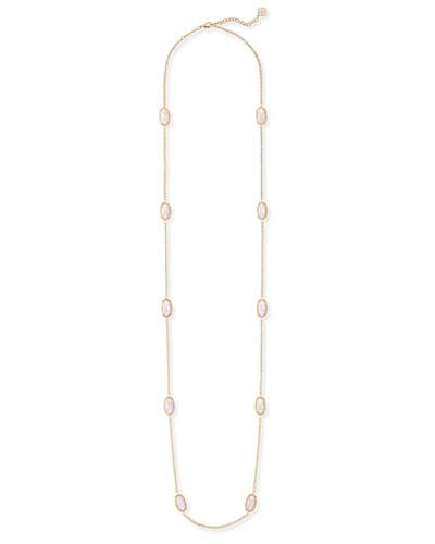 Kellie Gold Long Necklace in White Pearl