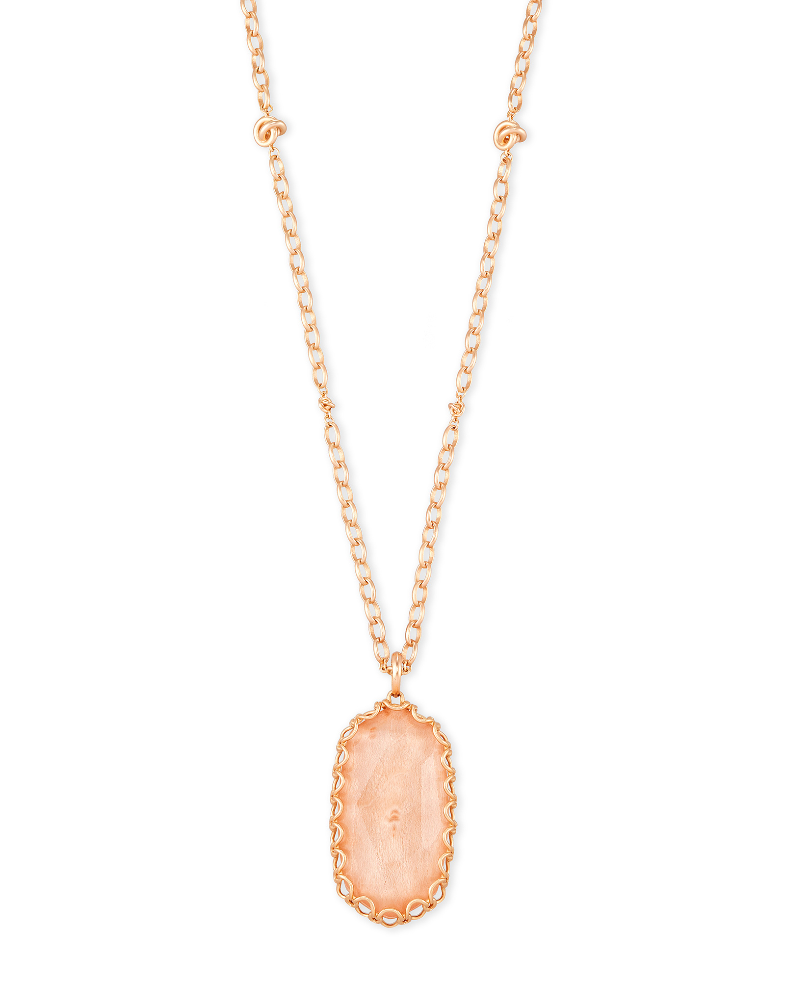 Macrame Reid Rose Statement Necklace In Blush Wood