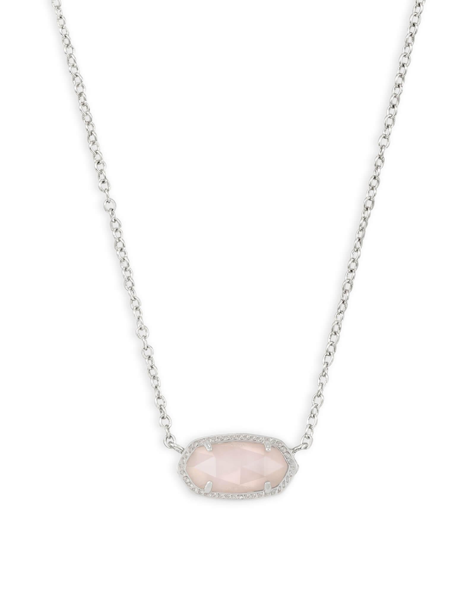 Elisa silver pendant necklace in rose quartz kendra scott elisa silver pendant necklace in rose quartz aloadofball Images